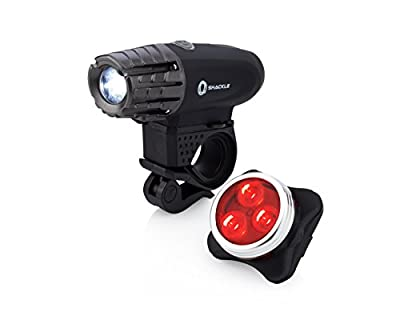 USB Rechargeable Bike Light - Shackle 350 Lumens LED Waterproof Bicycle Headlight - Tail Light Set