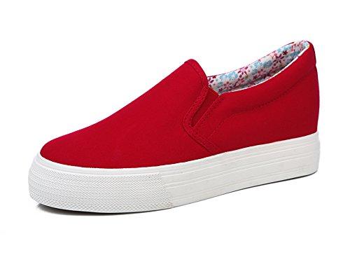 Aisun Damen Klassisch Erhöhte Canvas Flach Sneaker Schuhe Rot