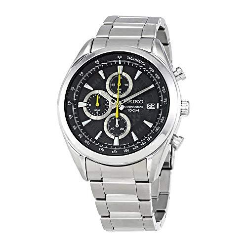 (SEIKO SSB175P1,Men's Chronograph,Stainless Steel Case & Bracelet,Black Dial,100m WR,SSB175)