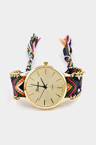 Karmas Canvas Thread Pattern Braid Round Face Adjustable Watch (Olive Multi)