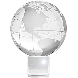 Crystal Globe (3 inch Dia) on Stand with Gift Box