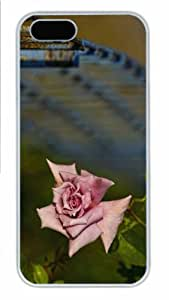 Hot iPhone 5S Customized Unique Print Design Pink Rose And Fence New Fashion PC White iPhone 5/5S Cases