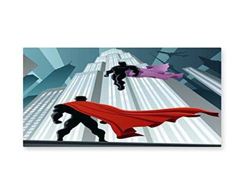 Lunarable Superhero Wall Art, Hero Facing to Supervillain Encounter in City Good Versus Bad Competition Theme, Gloss Aluminium Modern Metal Artwork for Wall Decor, 23.5 W X 11.6 L Inches, (Pictures Of Female Superheroes And Villains)