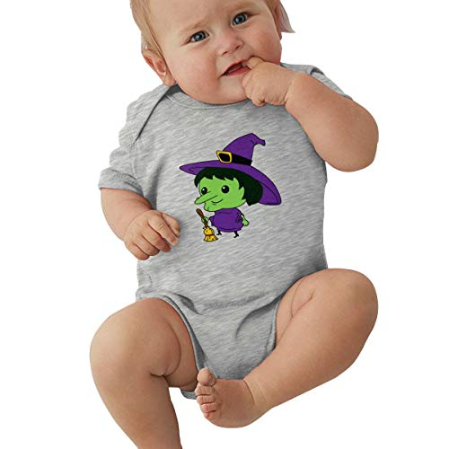 Dejup Unisex Baby Short Sleeve Bodysuits Evil Witch Ghost Funny Summer Boys Girls Onesies Gray -