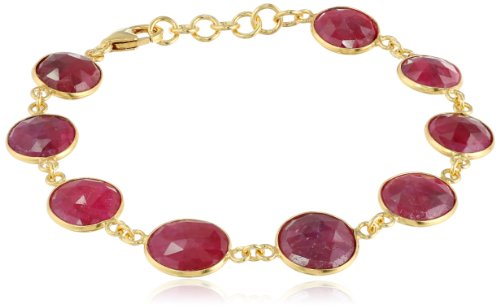 Ruby Sapphire Faceted and Sterling Silver Gold Plated Bracelet, 3