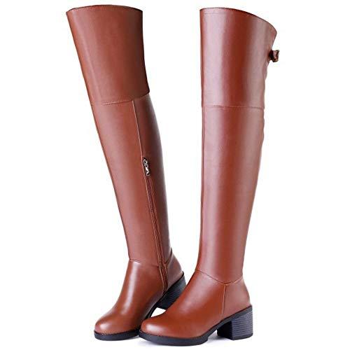 TAOFFEN Donne Marrone Stivali Moda Medio Tacco Invernali CgqxCfdr