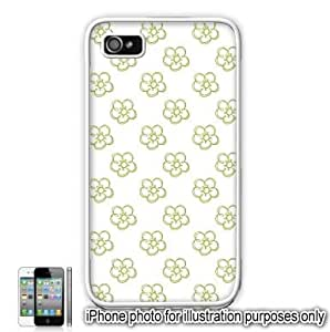 Lime Green Pretty Floral Flowers #2 Pattern iPhone 4 4S Case Cover Skin White