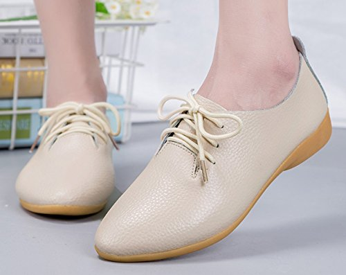 Casual Comfort Beige Oxfords WUIWUIYU Shoes Up Walking Driving Lace Flats Leather Women's IxqYwwrPS0