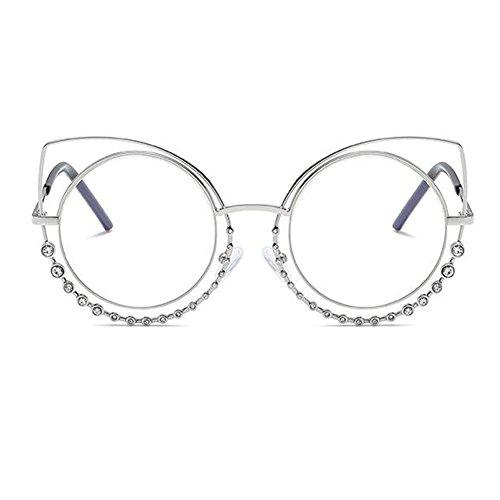 les Mode plat Argent Cat lunettes femmes cadre de Inlefen en lentilles de rond soleil Transparent pour Eye lunettes métal miroir aq1Sd
