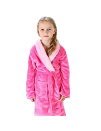 Happy Sky Children Robes Flannel Bath Wa=Ear Sleep Clothing for 4-16 Years Old Boys Girls Bathrobes