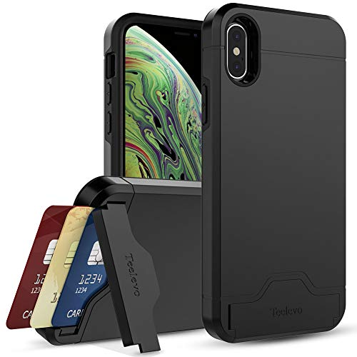 Teelevo Wallet Case for Apple iPhone Xs (2018) and iPhone X (2017) with Card Slot Holder and Kickstand - Black