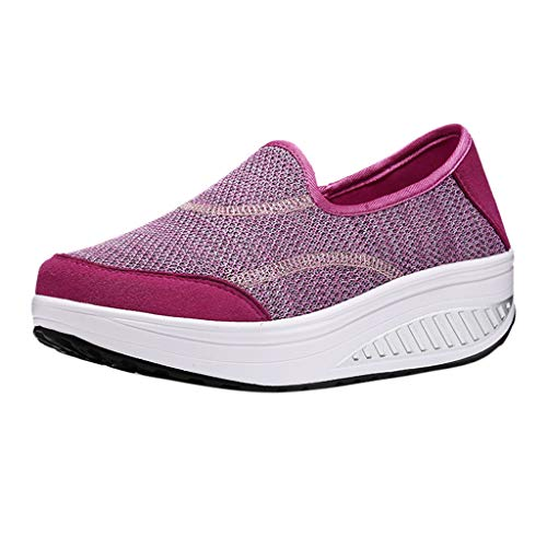 (Women's Athletic Walking Sock Shoes Clearance, Jiayit Ladies Breathable Lightweight Non-Slip Shoes Wedges Platform Shoes Comfortable Work)