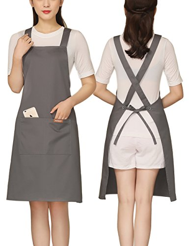 Adjustable Kitchen Apron with 2 Pockets Cotton for Women,Chef,Waitress,Hairstylist Fits for Grill,BBQ,Paint Cross Back Grey