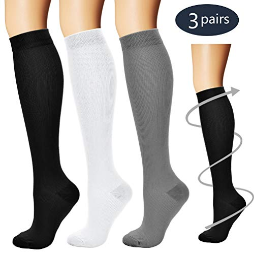 BLUETREE Compression Socks,(3 pairs) Compression Sock for Women & Men,Best Medical, Nursing, for Running, Athletic, Edema, Varicose Veins., Assorted, Small/Medium