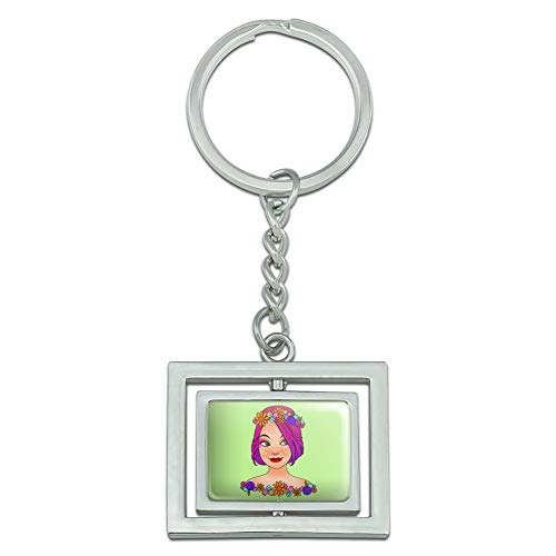 Graphics and More Classy Modern Day Hippie Flower Child Spinning Rectangle Chrome Plated Metal Keychain Key Chain Ring