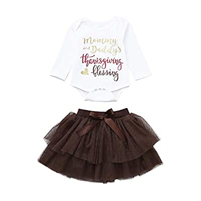 Newborn Infant Baby Girl Letter Romper Tops+Tutu Skirts Thanksgiving Outfit Set