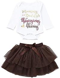 29e933409e1f Newborn Infant Baby Girl 3-24 Months Letter Romper Tops+Tutu Skirts Thanksgiving  Outfit
