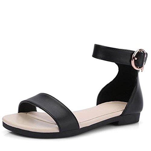 Easemax Dames Open Teen Enkel Gesp Zip Up Platte Sandalen Zwart