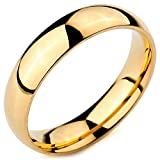 INBLUE Men,Women's Wide 5mm Stainless Steel Ring Band Gold Tone Wedding Size13