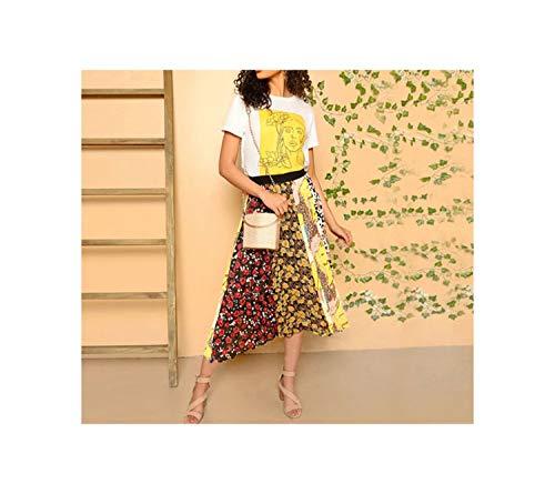 Bigidols Multicolor Elaic Mixed Print Pleated Long Skirt Women EleMid Colorblock Maxi Skirts,Multi,M