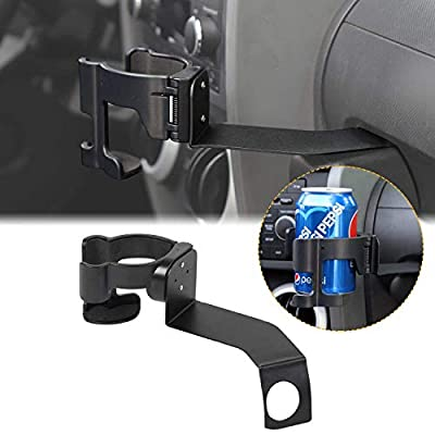 CheroCar Multi-Function Phone Holder Drink Cup Mount Stand Bracket Organizer for Jeep Wrangler JK JKU 2007-2010, Interior Accessories (Black): Automotive
