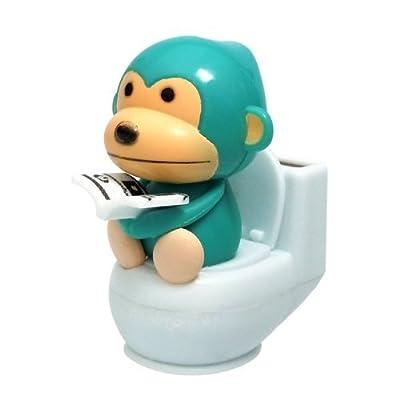 Solar Power Motion Toy - Monkey on Toilet -Blue: Home & Kitchen