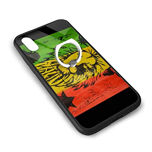Reggae Rasta Flag Lion iPhone X/iPhone Xs Tempered Glass Case Soft Silicone TPU Frame Back Cover with Square Ring Stand Grip Holder