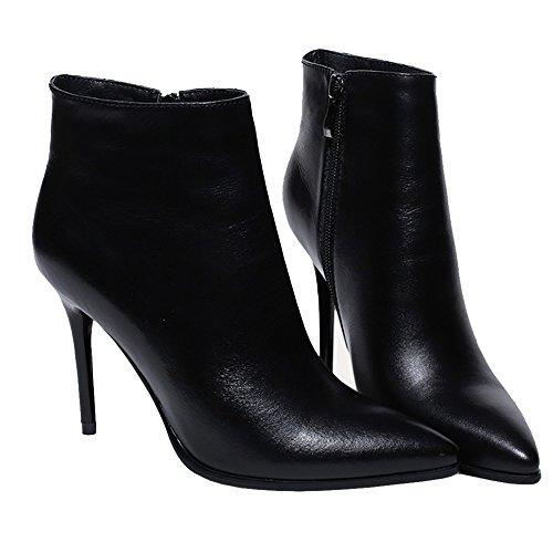 Heels Winter Stiefel Spite Schwarz 2017 for Leder MERUMOTE Thin Wear Schuhe Daily Damen wqIFAzI