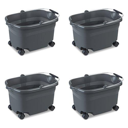 Quart Flat Bucket 20 - Sterilite 11273V04 20 Quart/19 Liter Wheeled Bucket, Flat Gray Bucket & Wire Handle w/ Blake Grip & Casters, 4-Pack