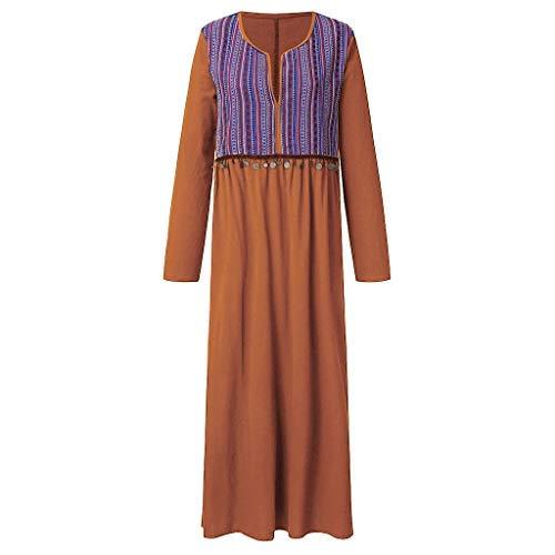- ☆HebeTop Women's Long Sleeve V-Neck Striped Printed Loose Plain Dresses Casual Long Dress Orange