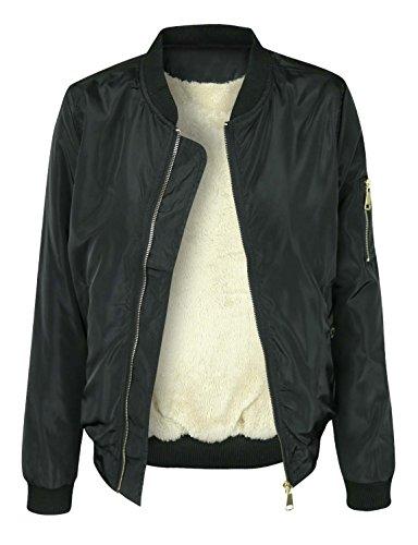 - makeitmint Women's Stylish Zip Up Patch Bomber Jacket w/Zipper Pocket [S-3XL] 2XL YJZ0022_44BLACK