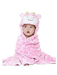 JOYHY Unisex Baby Infant Blanket Bathrobe Towel Cute Animal Baby Cloak Pink Cow