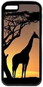 Giraff In Sunset Theme PC Material Black Skin Case Cover For iPhone 5C