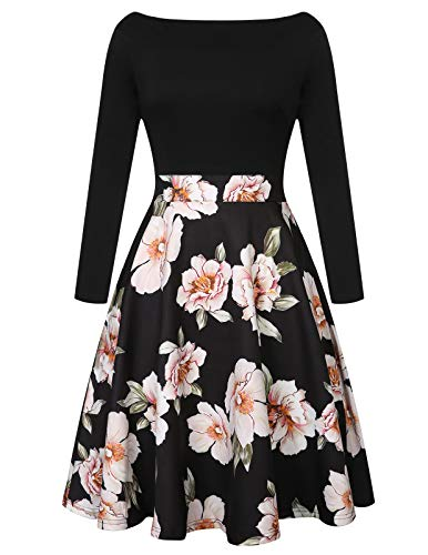 (CHICIRIS Women Casual Elegant Dress A Line Cap Sleeve Crew Neck Pockets Black XL)