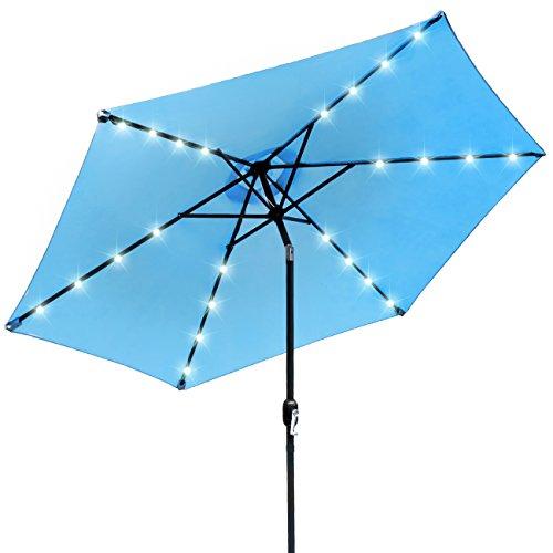 - Sorbus LED Outdoor Umbrella, 10 ft Patio Umbrella LED Solar Power, with Tilt Adjustment and Crank Lift System, Perfect for Backyard, Patio, Deck, Poolside, and More (Solar LED - Aqua)