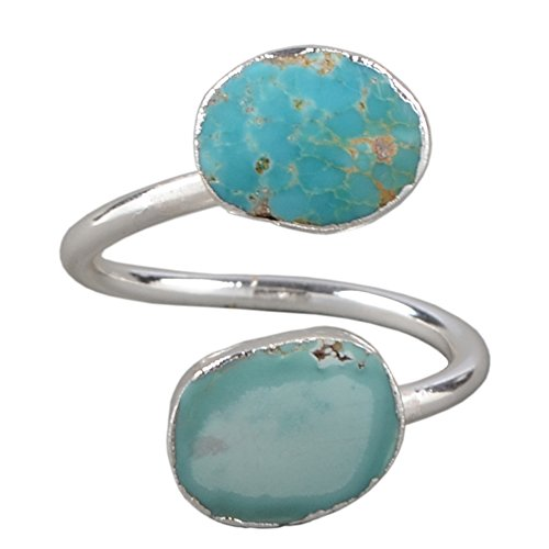 (ZENGORI 1 Pcs Pretty Natural Turquoise Wrap Adjustable Ring Silver Freeform Genuine Turquoise Ring S0183)