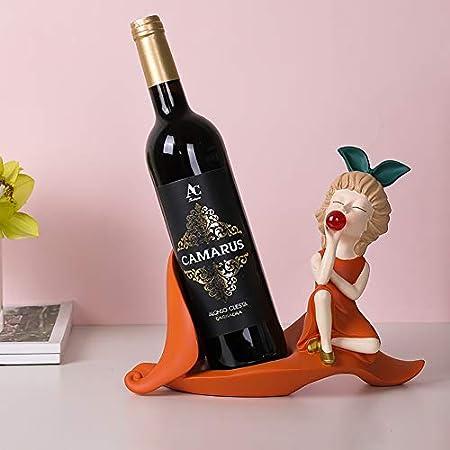 HCYSNG Botelleros Vino Práctico Estante para Botellas de Vino Vinoteca de pie Soporte para Botella de Vino de pie Independiente (Color : Orange)