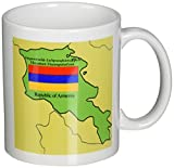 3dRose Map and Flag of Armenia with Republic of Armenia Printed in English and Armenian, Mug, 11-Oz