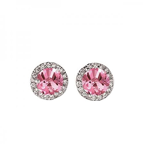 0.50 Carat (ctw) 14K White Gold Round Pink Sapphire & White Diamond Ladies Halo Stud Earrings 1/2 CT