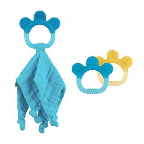 green sprouts Blankie and Silicone Teether Set, Aqua ()