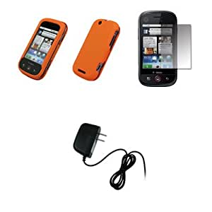 Orange Rubberized Snap-On Cover Case + Screen Protector + Home Wall Charger for Motorola Cliq MB200