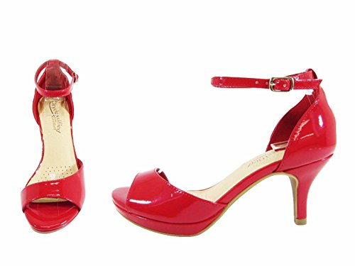 City Classified Womens Strappy Open Toe Low Heel MVE Shoes Red Pat S0HvJ