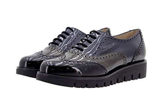 Calzado mujer confort de piel Piesanto 9707 zapato cordón cómodo ancho Negro-Taupe