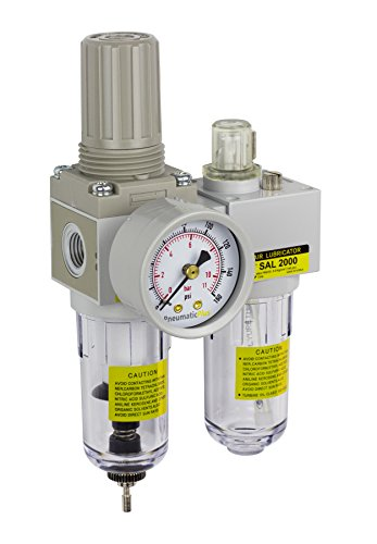 PneumaticPlus SAU2010M-N02G Mini Two-Unit Compressed Air Filter Regulator Lubricator Piggyback Combo 1/4
