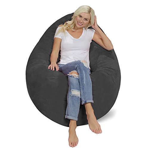 41hbnTZ79pL - Chill-Bag-Huge-Memory-Foam-Bean-Bag-Pillow-Charcoal