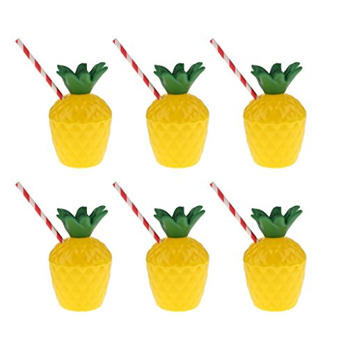 6PCS Pineapple Cups with Straws for Hawaiian Beach Tropical Luau Hula Tiki Party Favors Aupplies Decoration