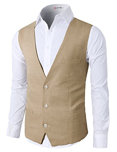 (H2H Men's Top Designed Casual Slim Fit Skinny Dress Vest Waistcoat Lightbrown US 3XL/Asia 4XL (CMOV039))