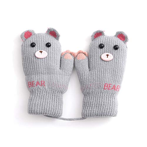 Toddler Baby Knitted Gloves Cute Winter Fleece Ski Mittens Xmas Gift for ()