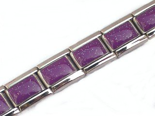 Purple Shimmer Italian Charm Bracelet