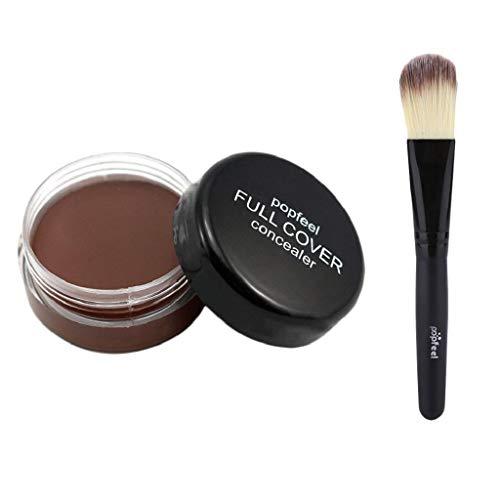 SAKAMU Concealer Foundation Primer Powder Spray Cream Makeup Palette,Makeup Foundation Base Nude Face Liquid Cover Concealer + Wooden Brush